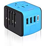 Travel Adapter Universal Internationa All-in-one Wall Charger Type C USB Ports for UK/EU/AU Asia Covers 150+Countries
