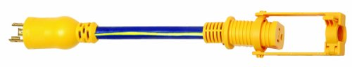 Voltec 04-00092 12/3 STW Locking Plug to U-Ground Connector Adapter with E-Zee Lock, 1-Foot, Blue with Yellow Stripe