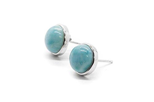 AZIEL JEWELRY Larimar Gemstones with 925 Sterling Silver Stud Earrings Jewlery for Women