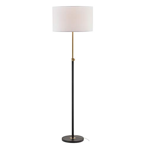 Light Society LS-F303-BK Cardiff Telescoping Floor Lamp Matte Black with Brass Finish and White Lamp Shade, Classic Modern Contemporary Style -