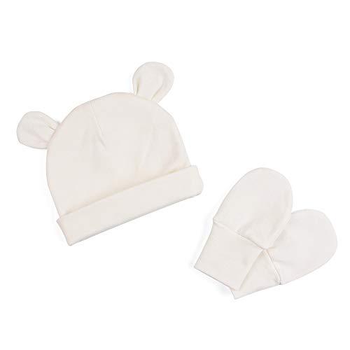 Zsedrut Baby Boys' Girls' Cotton Cap and Scratch Mitten Set Newborn Hat Cotton Gloves (White)