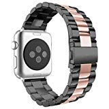 (Aottom Compatible for Apple Watch Band 38mm/40mm iWatch Series 4 Bands Stainless Steel Replacement Band Wrist Bands Bracelet for 40mm iWatch Series 4 / 38mm iWatch Series 3/2/1, Black/Rose Gold)