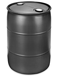 Gurman, 55 Gallon RECONDITIONED Plastic Closed Top Drum - Black (Plastic Drum Containers)