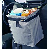 High Road TrashStash Hanging Car Trash Bag with Leakproof Lining and Spring Closure - Gray