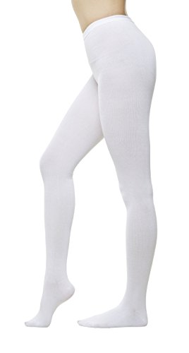 Women Color Flat knit Sweater Cotton Stirrup Footless Footed tights (S/M, White)
