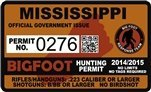 "Mississippi Bigfoot Hunting Permit 2.4"" x 4"" Decal Sticker"