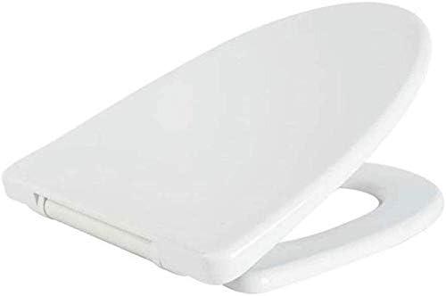 トイレ蓋便座、スローダウン尿素ホルムアルデヒド樹脂付きV字型便座、ステンレスベースで取り付けられた超耐性トップ、ホワイト-40.5〜42.5 * 36cm