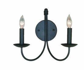 Artcraft Lighting Pot Racks 2-Light Wall Sconce Light, Black