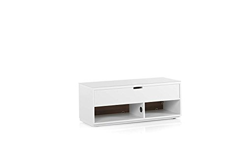 "SONOROUS Studio ST-110B Wood and Glass TV Stand with Hidden Wheels for Sizes up to 65"" (Modern Design with 4 Shelves For Your Audio/Video Components and Consoles, Comes with I/R Repeater)-Walnut Cover"