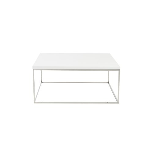 Euro Style Teresa Square Lacquer Top Coffee Table, White with Polished Stainless Steel