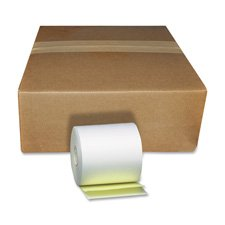 PM Company Paper Rolls, Teller Window/Financial, 3 1/4 inch x 80 ft, White/Canary, 60/Carton by PM Company