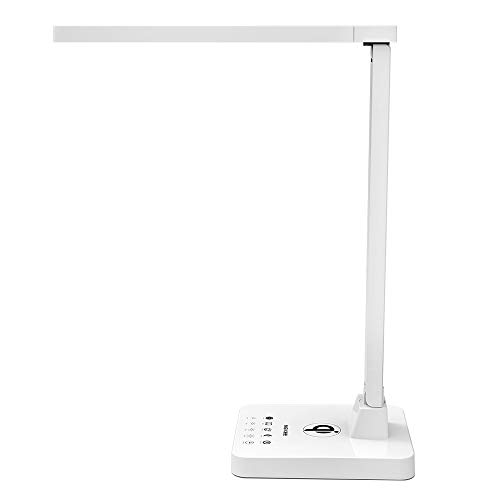 LED Desk Lamp, MEIKEE Flexible Desk Lamp with Wireless Charging, Office Desk Lamp White, 4 Lighting Modes with 4 Brightness Levels, 5V/1A USB Charging Port, Touch Control & Memory Function