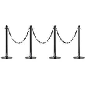"Mr. Chain 96439-4 7 Piece Black Chrome Plated 2-1/5"" Stanchions Kit with 2"" Heavy Duty Chains"
