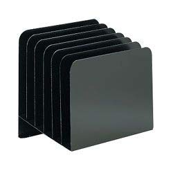 Office Depot Slanted Recycled Vertical File Organizer, 6 Compartments, Black, OD6BLA