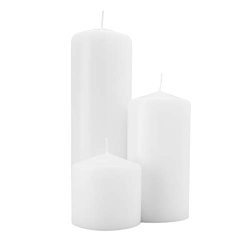 Royal Imports 1 Set of 3 Pillar Candles (3 Candles) Wedding, Birthday, Holiday & Home Decoration, 3x3, 3x6, 3x9, White Wax by Royal Imports