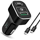 USB Type C Car Charger with PD Power Delivery 45W & USB-A QC3.0 18W for MacBook 12-inch/Pro, Pixel 2/ Pixel XL Galaxy S9/...