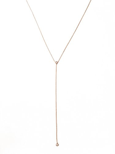 (HONEYCAT Crystal Lariat Necklace in 18k Rose Gold Plate | Minimalist, Delicate Jewelry (RG))