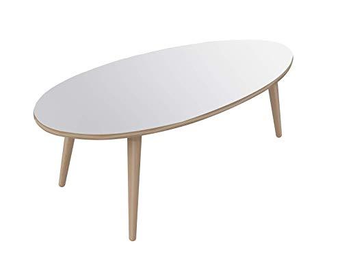 Marca Amazon -Movian Adour Modern - Mesa de centro ovalada, 55 x 110 x 39 cm (blanco)