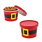 12pc Paper Santa Christmas Cookie Containers with Lids (One Dozen)