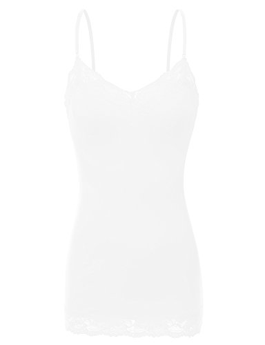 White Lace Trim Camisole - RT1004 Ladies Adjustable Spaghetti Strap Lace Trim Long Tunic Cami Tank Top White M