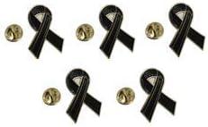 Pack 5 Pins de Solapa Black Ribbon - Lazo Negro 17mm: Amazon.es: Hogar