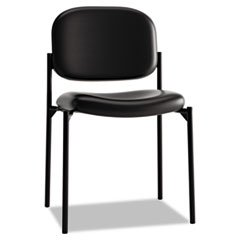 - - VL606 Series Stacking Armless Guest Chair, Black Leather