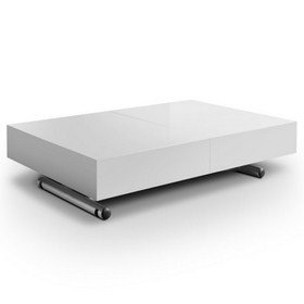 Smart Height-Adjustable Extendable Coffee Table, White Lacquered ...