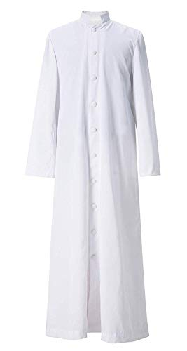 (GGS Unisex Roman Altar Cassock Single Breasted Clergy Pulpit Vestment White 51 ((5'6
