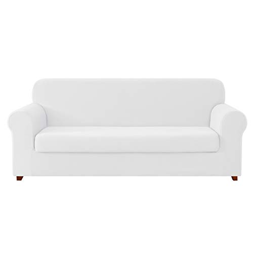 DyFun 2-Piece Knit Spandex Stretch Dining Room Slipcovers (Sofa, White)