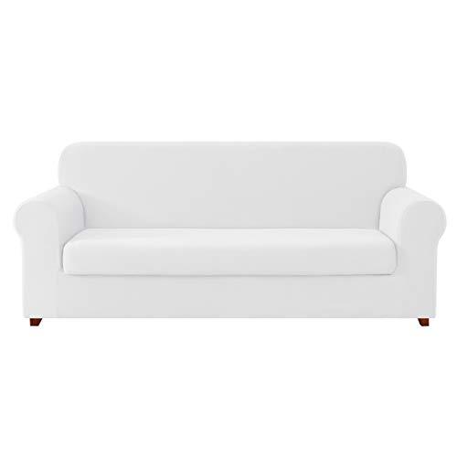 (DyFun 2-Piece Knit Spandex Stretch Dining Room Slipcovers (Sofa, White))
