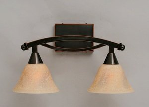 "Toltec Bow 2 Light Bath Bar in Black Copper with 7"" Italian Marble Glass"