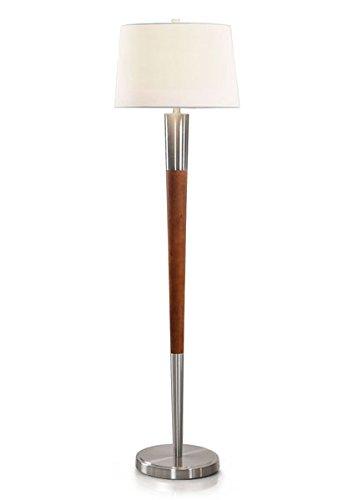 Manhattan 62 H Wood Floor Lamp Modern Floor Lamp Brushed Nickel