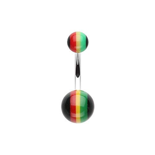 Covet Jewelry Rasta Stripe Acrylic Belly Button Ring ()