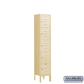 (Salsbury Industries Assembled 5-Tier Box Style Standard Metal Locker with One Wide Storage Unit, 5-Feet High by 15-Inch Deep, Tan)