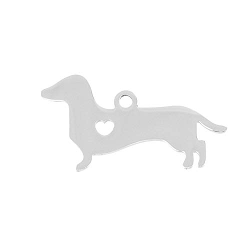 - Stainless Steel Pendant Heart Puppy Pet Id Blank Dog Tag for Print Mirror Polish 10 Pcs