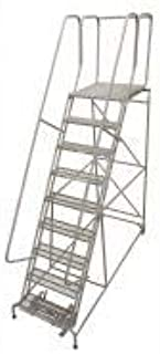 product image for Cotterman 1509R2632A2E30B4W4C1P6 - Rolling Ladder 120 in H 9 Steps 59 deg.- Pack of 2