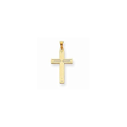 14k Gold Solid Cross Pendant 0.83 in x 0.59 in