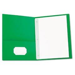 ** Two-Pocket Portfolios w/Tang Fasteners, 11 x 8-1/2, Green, 25/Box ** by 4COU