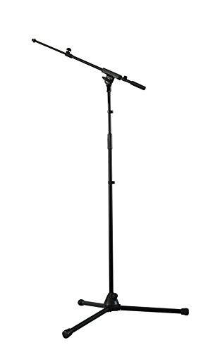Sterling Floor Stand (Microphone Stand - Fully Adjustable, Sleek Black Finish, Lightweight & Sturdy, W/ Microphone Clip - Ideal For Professional DJ's & Live Bands By GMI)