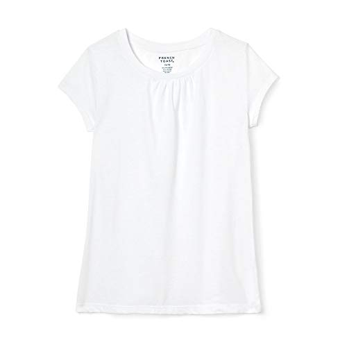 French Toast Little Girls Short Sleeve Crew Neck Tee, White, 4