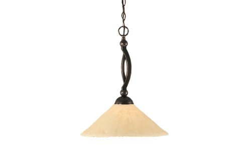 Toltec Lighting 271-BC-712 Bow One-Light Down light Pendant Black Copper Finish with Antique White Glass Shade, 16-Inch