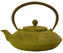 China Cast Iron Green Teapot with Dragonfly Design