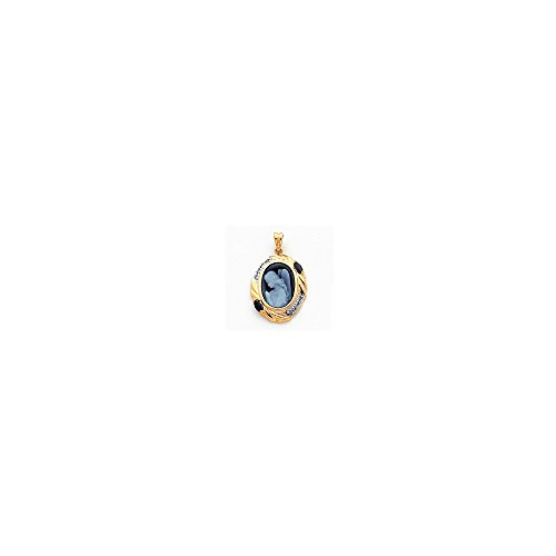 Q Gold Jewelry Pendants & Charms Cameos 14k Diamond and Sapphire Guardian Angel Agate Cameo with Sentiment Pendant