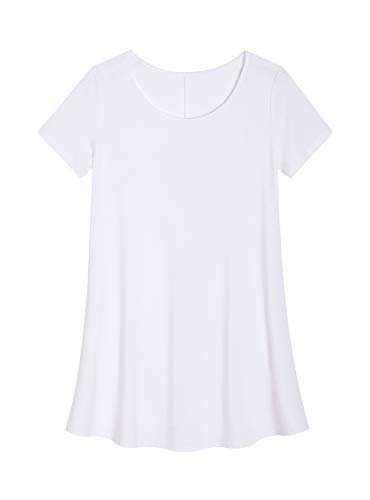 (Latuza Women's Plus Size Tunic Shirt Swing Tunic Top M White)