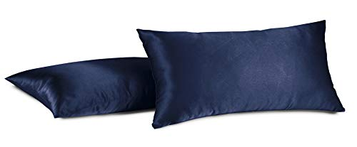 Aiking Home 100% Polyester Bridal Satin Luxury Pillowcases - Set of 2 Invisible Zipper Pillowcases - Machine Washable - (Queen 20x30 inch, Navy)