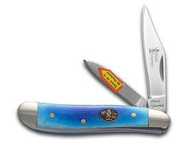 STEEL WARRIOR Smooth Blue Bone Peanut Stainless Pocket Knife Knives
