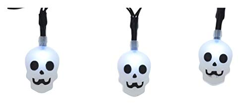 A&T Designs Decorative Halloween Skeleton Face Mini LED Lights Strand - for Indoor Use (Party Decor - DIY Crafting Floral Arrangement Wreath Centerpiece Table Setting Mantel) -