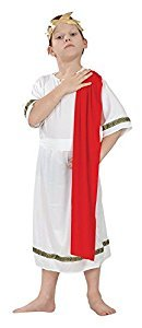 Large White & Red Boys Roman Emperor Costume by Bristol Novelty