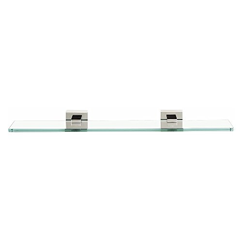 Alno A8450-18-PC Contemporary II Modern Glass Shelf with Brackets, 18'', Polished Chrome by Alno