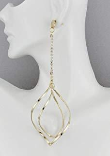Gold 5 long earrings twist teardrop pendant super long big statement earrings
